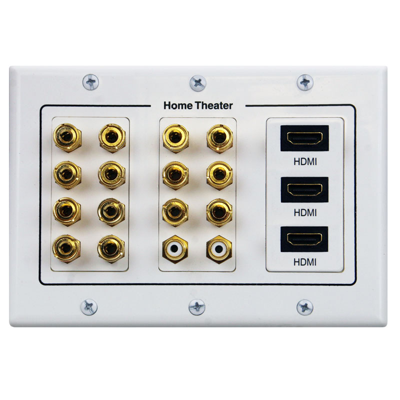 7 1 wall plate for speaker with three hdmi connections free shipping rh av express com Home Audio Wall Plates Audio Wall Plate