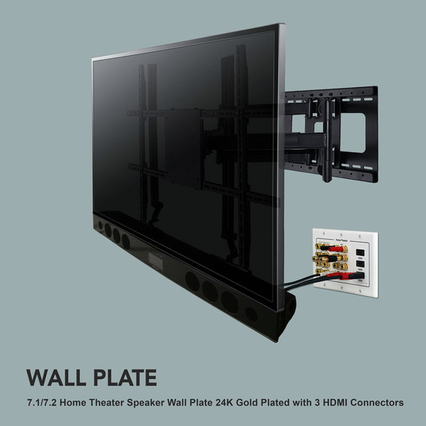 7.1 wall plate for speaker with three hdmi connections free shipping ...