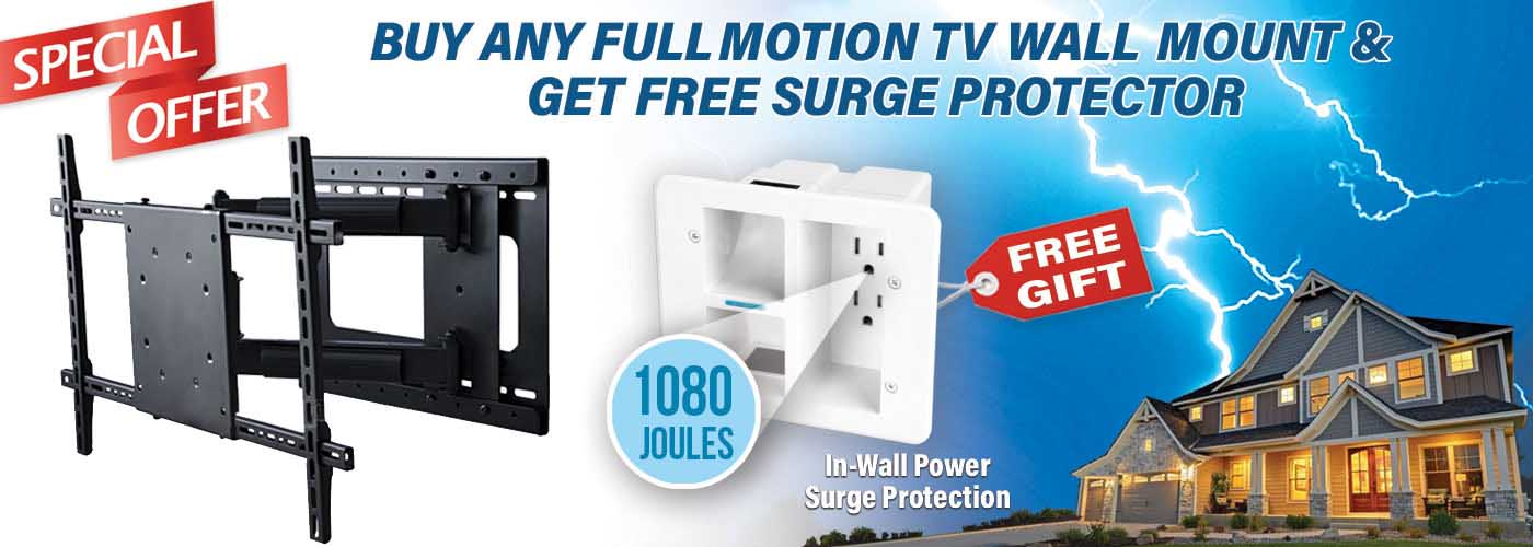 buy full motion tv wall mount get epic connect power surge protection kit free