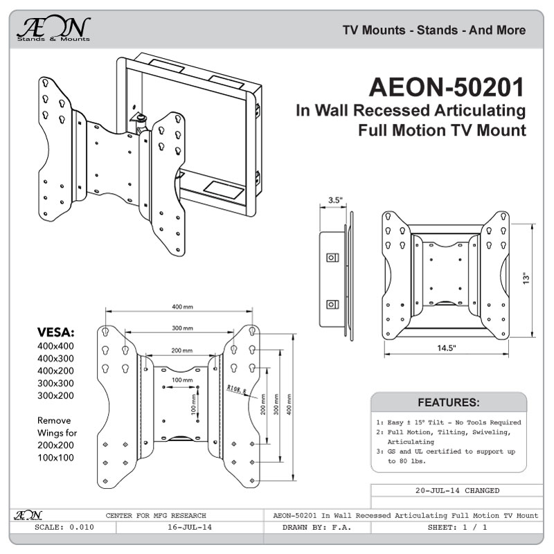 recessed in wall tv mount  full motion tv wall mount