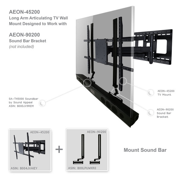 Full Motion Articulating Tv Wall Mount With Long Arm Aeon 45200 Av